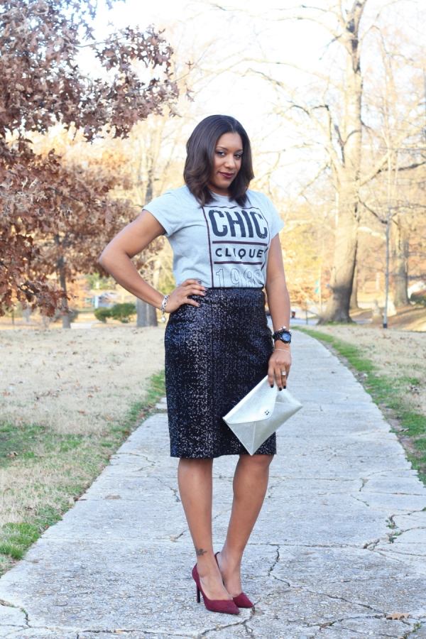 According to Q-Sequin Skirt-Graphic-Tee