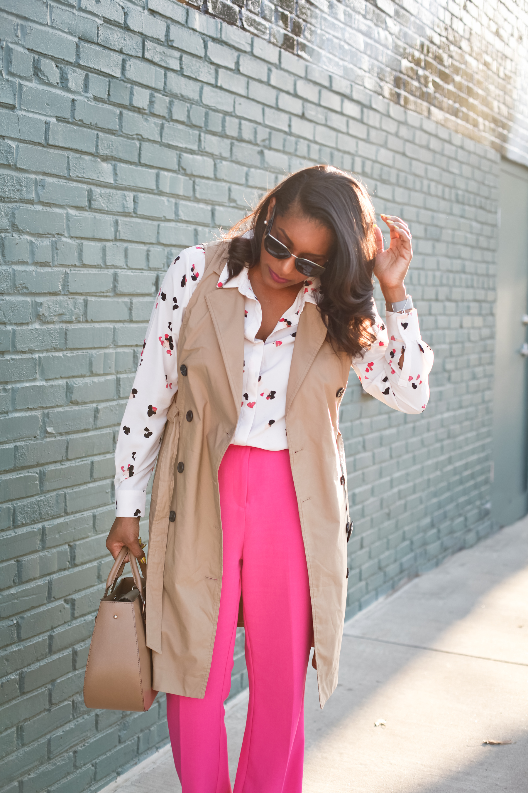 Trench-Vest-Fuchsia-Trousers-1