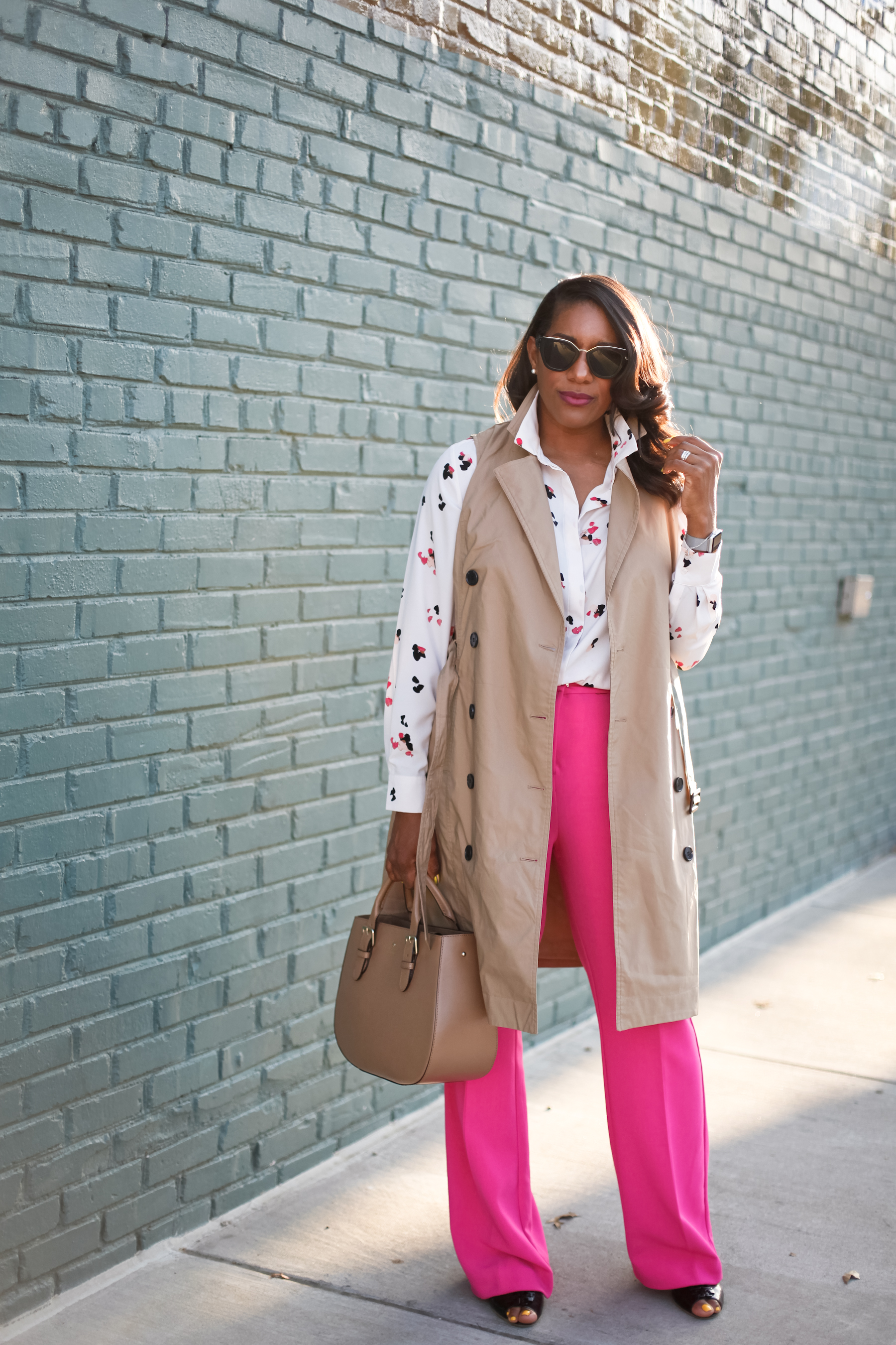 Trench-Vest-Fuchsia-Trousers-2