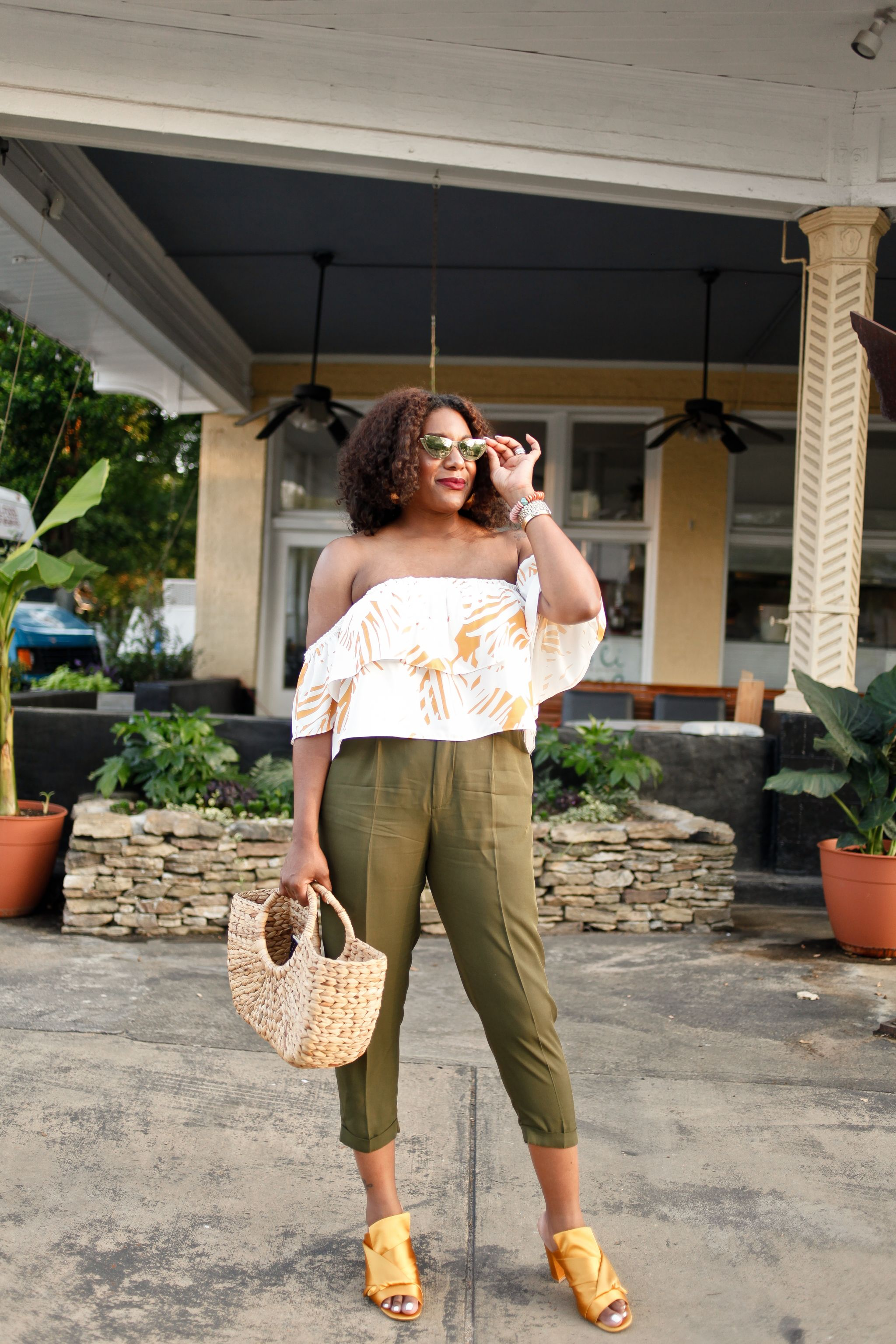 Off-the-shoulder-blouse-green-trouser-1